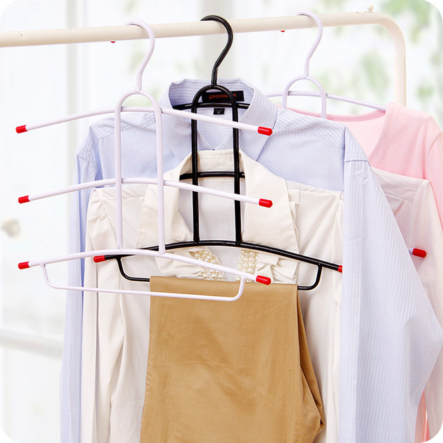 Iron Hangers Multilayer Multi Layer Hanger Magic Drying Non Slip Hanger Fishbone Type Clothes Hanging Wardrobe Hanger