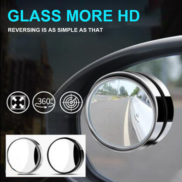 1pc Car 360 Degree Framless Blind Spot Mirror Wide Angle Round Convex Mirror Small Round Side Blindspot Rearview Parking Mirror