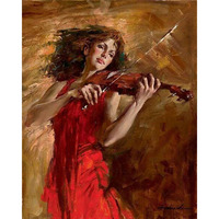 Hand Painted Beautiful Girl Dressing Red Skirt Playing The Violin Still Life Canvas Handmade Oil Painting