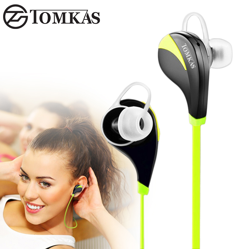 TOMKAS Bluetooth 4.0 Sport Earphone Wireless Headset Stereo Mic Music Hands Free In-ear Bluetooth Earphone For iPhone 6 7 Phone rockspace zircon stereo earphone quality sound earbud for iphone in ear earphones hands free headset with mic right angle plug