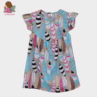 Holiday Beach Style Baby Girl Dress Round Neck Butterfly Sleeve Multi Color Feather Printing Kids Fashion