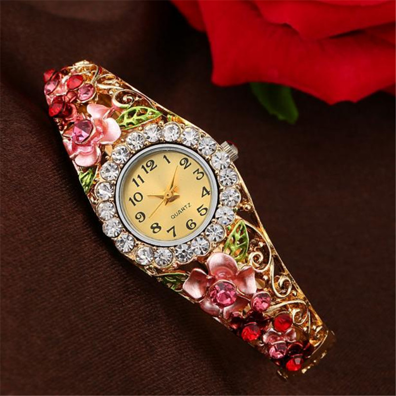 Bracelet Watch Rhinestone Crystal Luxury Women Abstract Colorful Gold Bangle Leaf Enamel-Paint
