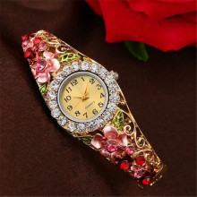Leaf Watch 2017 18K Gold Luxury Women Watch Colorful Abstract Enamel Paint Crystal Rhinestone Bangle Wristwatches Bracelet Watch