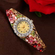 Leaf Watch 2017 18K Gold Luxury Women Watch Colorful Abstract Enamel Paint Crystal Rhinestone Bangle Wristwatches Bracelet Watch
