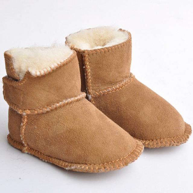 2016 Otoño Invierno Recién Nacido Bebé De Piel De Cuero Suave Con Suela de Costura Color Sólido Mantener Caliente Botas de Nieve de Moda