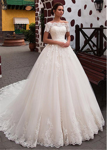 Image 2 - Attractive Tulle Off the shoulder Neckline Ball Gown Wedding Dress With Lace Appliques Short Sleeves Bridal Dresses