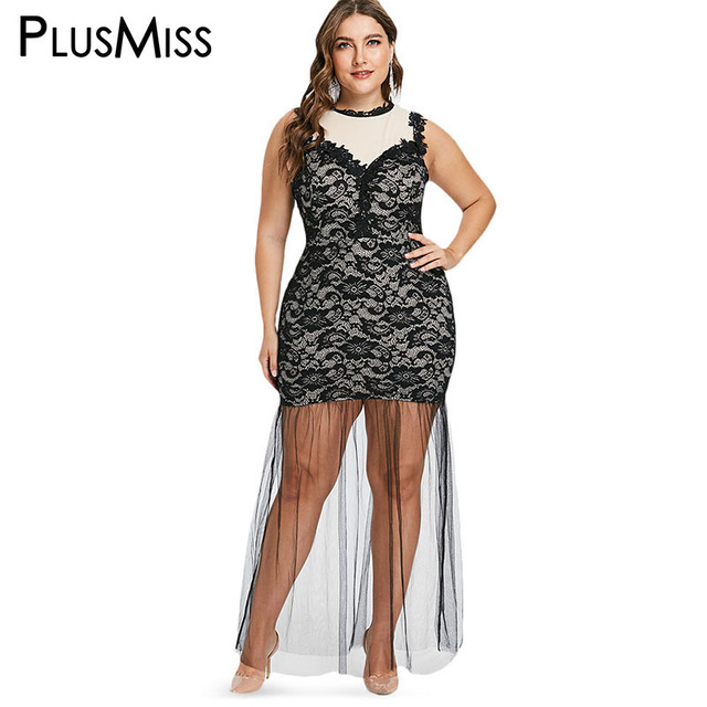 PlusMiss Plus Size XXXL XXL See Through Mesh Lace Tank Party Club Dresses  Women Big Size Sleeveless Sexy Bodycon Maxi Long Dress b941d52d3747