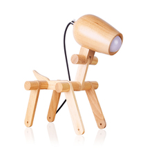 Modern Dog LOFT USB Led Wood Table Lamps Bedroom Bedside Decorative Lamp Reading Desk Fixtures Lights Lighting