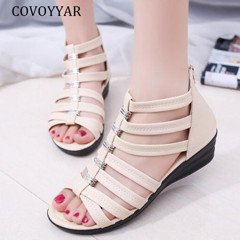 COVOYYAR Shoes Woman Sandals Summer Wedges Fashion Beach Lady Casual Gladiator WSS472
