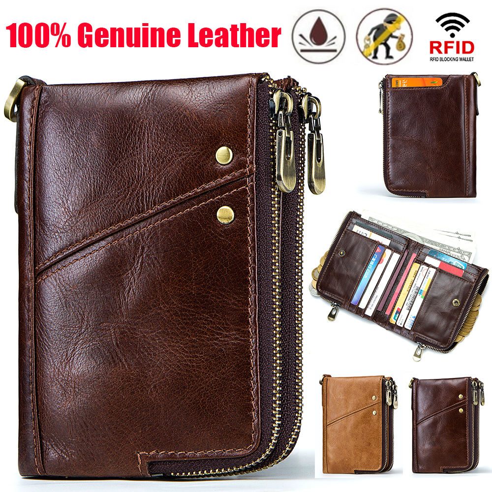 Free Engrave Rfid Wallet Men Wallets Leather Genuine High Quality Coin Purse Male Zipper Money Bag PORTFOLIO MAN Clamp For Money