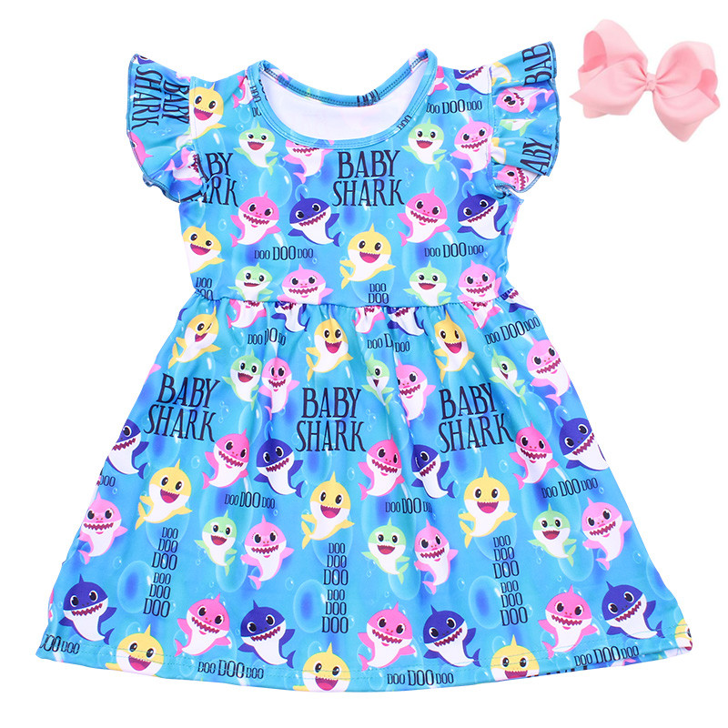 New Summer Children Girls Fashionable Dress Colorful Baby Shark Print Girls Dress Sleeveless Blue Clothing Milksilk Match Bow(China)