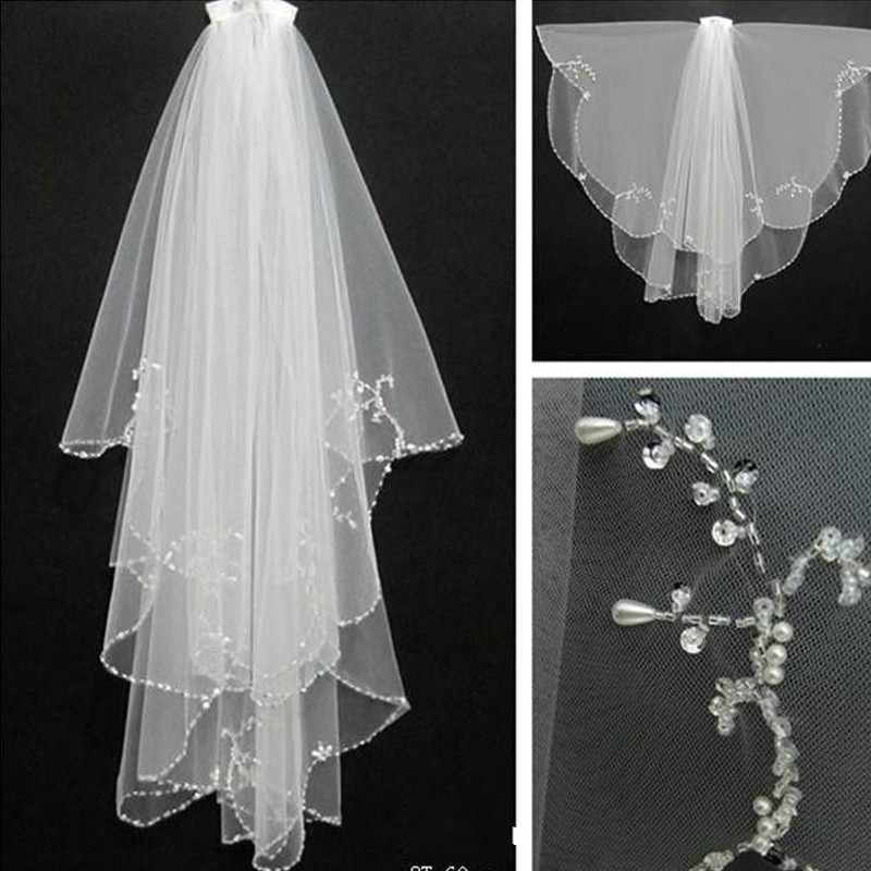 Handmade Pernikahan Manik-manik Tudung 2018 dengan Sisir 2 Lapisan Tulle Payet Manik-manik Kerudung Pengantin Pernikahan Aksesoris