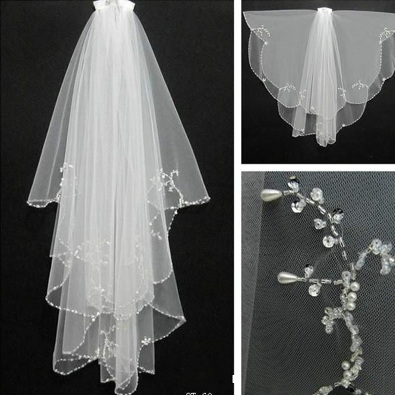 Handmade Wedding Beaded Veil 2018 With Comb 2 Layers Tulle Sequins Beads Bridal Veil Wedding Accessories