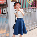 Women Vintage Casual Denim Skirt Spring Womens Slim High Waist A-line Pleated Skirts Blue Jean Jupe Femme Saias Petticoat