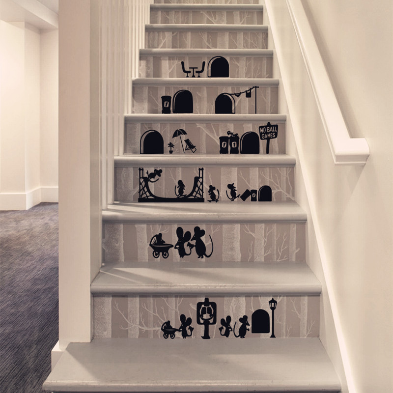 Cartoon Mouse Wall Sticker Removable Creative Stickers Bedroom Stairs Decorative Shop Home Decor Parlor Parede para quarto