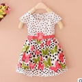 Baby girls dress cotton dot flora print 2016 new summer baby clothes princess dress A120