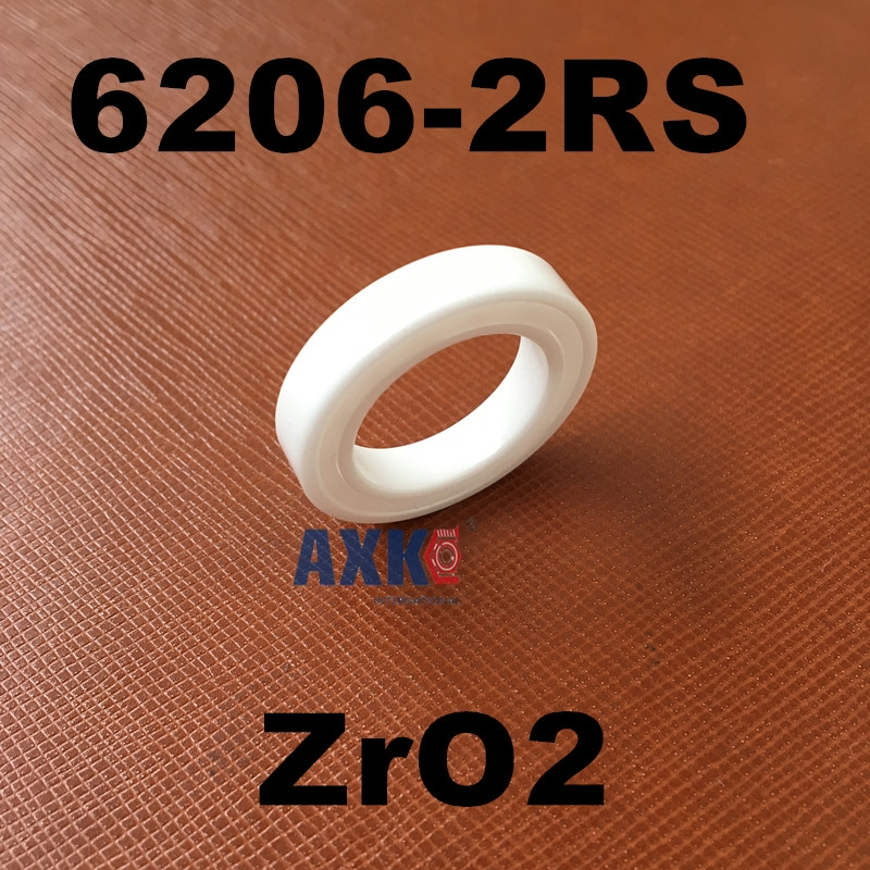 Free shipping AXK Brand 6206-2RS full ZrO2 ceramic deep groove ball bearing 30x62x16mm 6206 2RS 4pcs free shipping double rubber sealing cover deep groove ball bearing 6206 2rs 30 62 16 mm