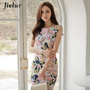 Image 5 - Jielur frauen Sommerkleid Floral Print Sleeveless Elegante Casual Kleid Mode Sommer Mini Kleid Bodycon Vintage Vestido De Renda