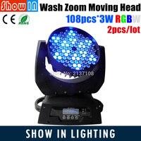 Haute Qualité À Faible Prix DJ Disco Party Étape Projecteur Lumière 108 PCS 3 W RGBW 14CH LED Zoom Lavage Faisceau Tête mobile