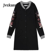 Jvzkass 2018 new spring womens plus size long baseball uniform loose cardigan jacket tide Z158
