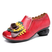 Hot New Vintage Handmade Folk Style Women Flats Casual Shoes Genuine Leather Lady Soft Bottom Shoes