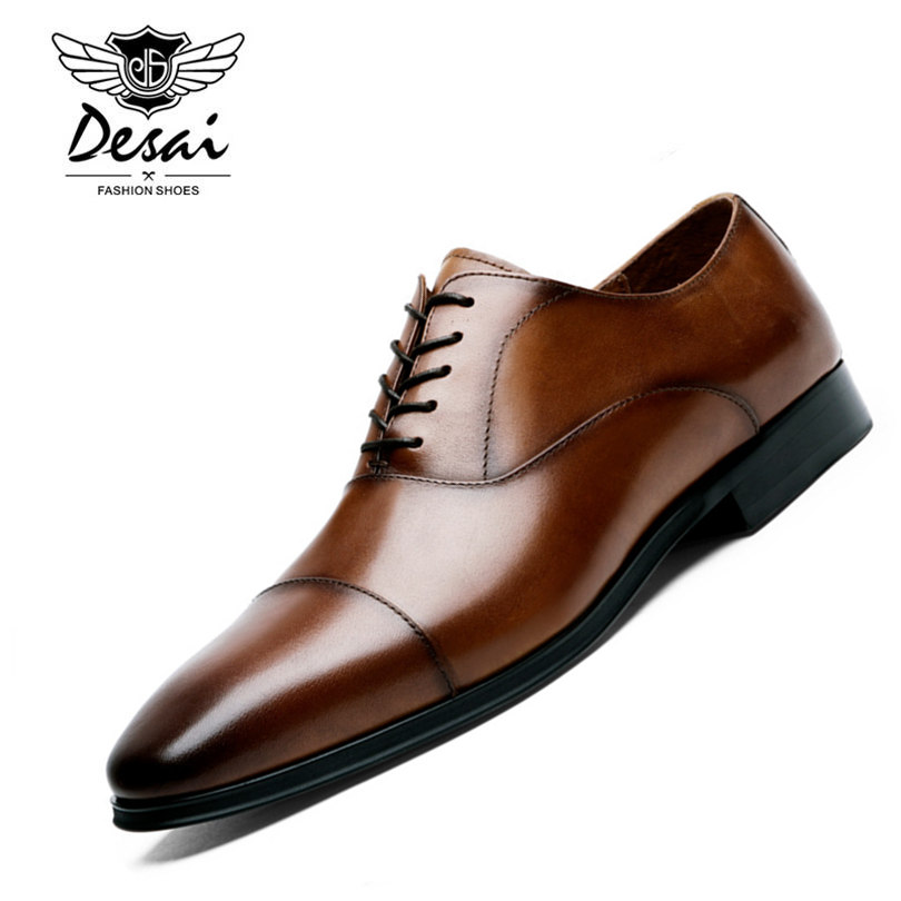 DESAI Brand Luxury Genuine Leather Men s Formal Shoes Pointed Toe Top Quality Cow Leather Oxfords