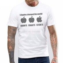 Tee Shirt Homme Tshirt Funny Men s 3 Apples Changed World Adam Isaac Steve T -shirt c1a7e751d6a3