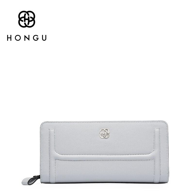 HONGU Light Luxury Genuine Leather Women Clutch Long wallet Mobilephone Purses coin purse Evening Bag Wristlets Wallets Clips