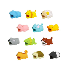 10pcs Cartoon Animals Bite Cable Data Protector Duck Dogs Cats Cute Shark Turtle for Iphone Line Protection Phone Accessory
