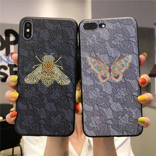Bee case for iPhone 8 7 x xs XR Plus Max 6 6S Soft Cover Case luxury Business animal 2019 Design manual butterfly TPU Phone