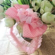 1 шт. / Лот дети повязка на голову роза для волос шифон цветочные кружева эластичные повязки дети