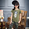 2016 Children Sets Cartoon White T Shirt camouflage Shorts 2 Pieces Girls Clothing Sets Casual Summer Boys Clothing Sets