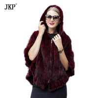 Real fur knitted Mink shawl jackets Mink fur scarf coat natural fur coat winter gift for a woman