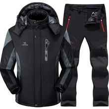Лыжный костюм для мужчин, лыжный и сноубордический набор, супер теплый водонепроницаемый ветрозащитный сноуборд, флисовая куртка+ штаны, зимние костюмы для мужчин