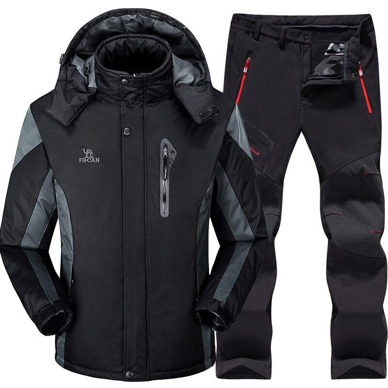 חליפת סקי גברים סנובורד סטים סופר חם עמיד למים Windproof סנובורד צמר מעיל + מכנסיים חורף שלג חליפות זכר