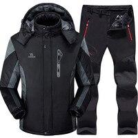 Ski Suit Men Skiing and Snowboarding Sets Super Warm Waterproof Windproof Snowboard Fleece Jacket+pants Winter Snow Suits Male