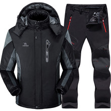 Ski Suit Men Skiing and Snowboarding Sets Super Warm Waterproof Windproof Snowboard Fleece Jacket+pants Winter Snow Suits Male 2019 new snowboarding pants ski pants women skiing equipment winter snowboard ants thicken warm snow trousers waterproof