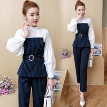 Navy blue Business work Office OL women sets Pant suits trousers 2 piece set striped outfit co-ord set 2019 bodycon slim clothes