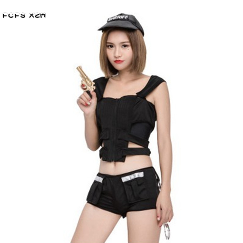 Black Sexy Female SWAT Policewoman Cosplay Women Halloween Special forces Costume Carnival Purim Christmas Nightclub party dress