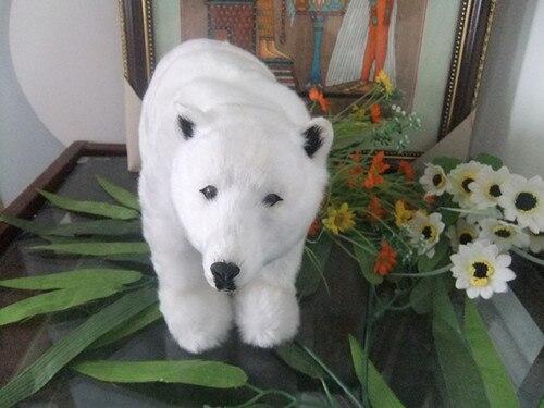Grand ours polaire blanc 30x20 cm modèle de fourrure ornement décoration de la maison cadeau h1378
