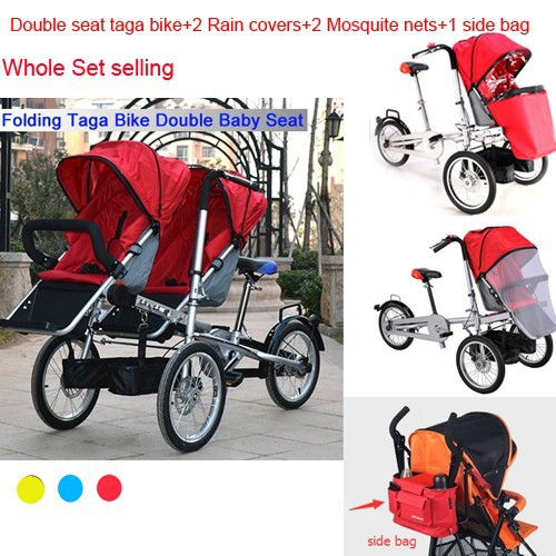 Double seats taga bike adding 2 rain cover adding 2 mosquite net adding 1 side bag