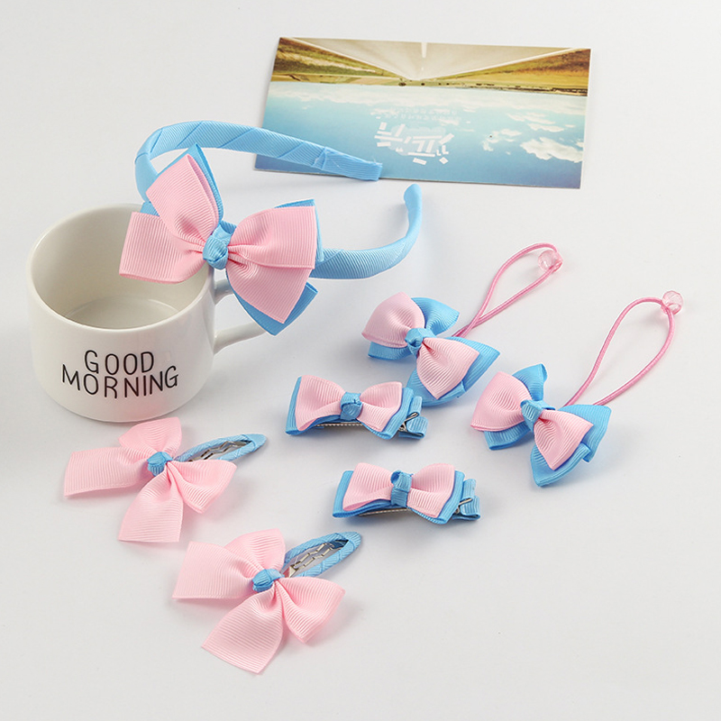 New Lovely Kids 7Pcs/Set colorful Fashion Bow Hairpins Elastic Hair bands Headbands Hair Clips Girls Hair Accessories Sets new 10pcs girls merry christmas headband flower hair elastic bands red hair accessories bow animals pattern ropes ties gift
