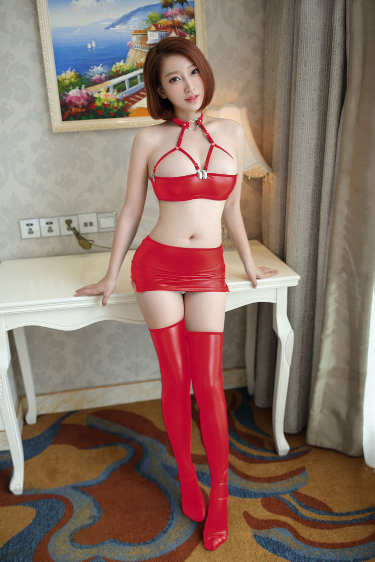Сексуальная Женская искусственная кожа микро мини юбка бюстгальтер мокрого вида Клубная DS танцевальная одежда юбка фантазия эротическая одежда