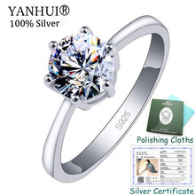 Sent Certificate! Original 925 Sterling Silver Rings for Women 5A Cubic Zirconia Engagement Wedding Rings Women Girls Gift CR023(China)