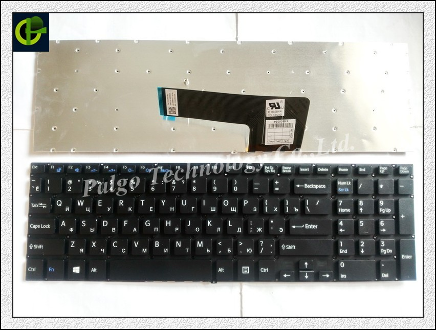 Russian Keyboard for Sony VAIO SVF153A1QT SVF15NE2E SVF15A1M2ES RU Black