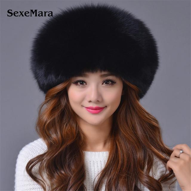Venda quente Russa chapéu de Pele De Raposa princesa Real Chapéu de Pele De Raposa mulheres Tampão do Inverno Quente de Couro Cocar cap Navio Livre ZDH-161011 Mongolia