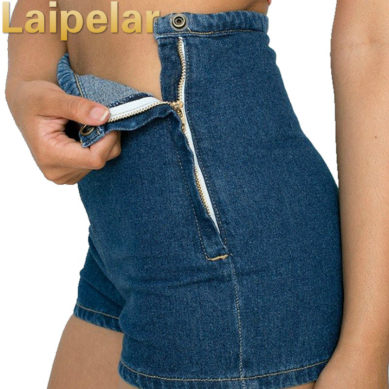 Laipelar Women Slim High Waist Jeans Short Zipper Denim Short Tight A Side Button Zip Fashion Shorts Casual Elegant Jeans Short in Shorts from Women 39 s Clothing
