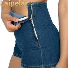 Laipelar Women Slim High Waist Jeans Short Zipper Denim Tight A Side Button Zip Fashion Shorts Casual Elegant