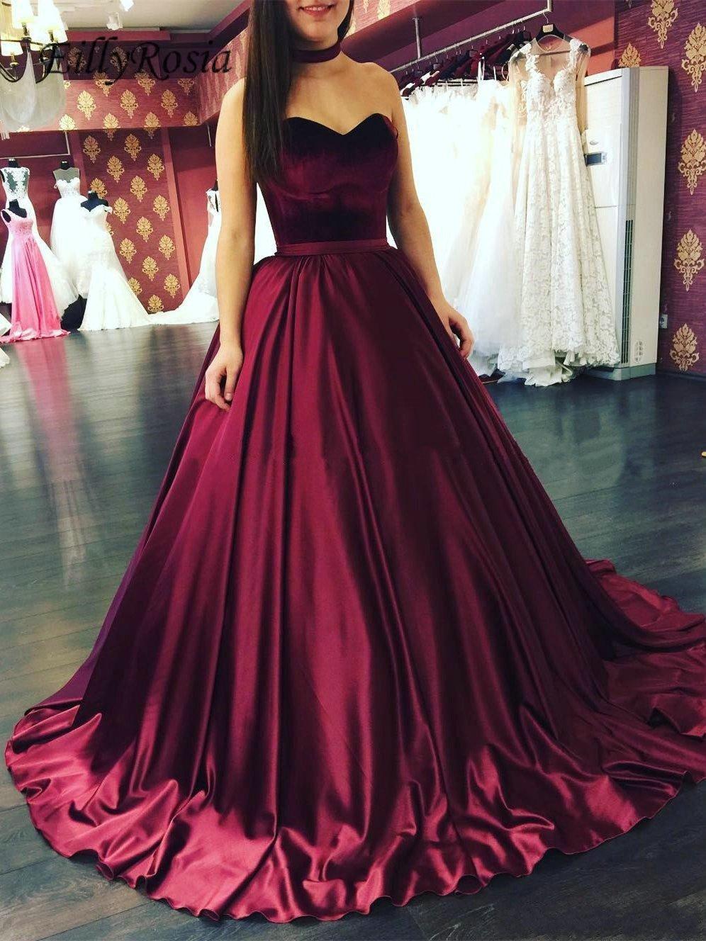 Big Offer Dark Red Satin Burgundy Prom Dresses Ball Gown Sweetheart Sweep  Train Elegant Grils Graduation Gala Dress ballkleider lang 20 October 20