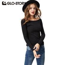 GLO-STORY Для женщин с открытыми плечами свитер Пуловеры для женщин 2017 Леди с длинным рукавом осень-зима Сексуальная трикотажные Свитеры для женщин джемпер женский Топы корректирующие 2615